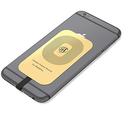 Apple Gold Receiver For iPhone 7, 7 Plus, 6, 6 Plus, 6s, 6s Plus, 5, 5s, 5c Fast Speed Wireless Qi Charger: The Piece You Were Missing,This Card Works With Any Charging (Wireless Induction Charger)