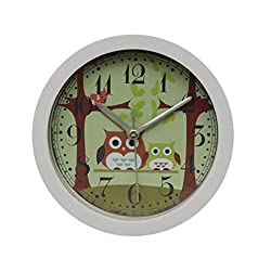 Yeefant Silent Sweep Owl Pattern Modern Graceful Bell Desk Creative Digital Alarm Quartz Clock Cute Portable Clock Decor for Living Room Bedroom,White