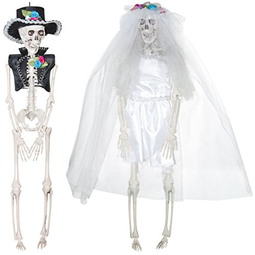 Hanging Day of the Dead Skeleton Bride and Groom Couple Halloween Decoration, Set of 2