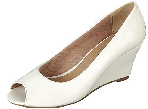 Toe Low Wedge Peep - Forever Link Women's Peep Toe Slip On Wedge Pump,8.5 B(M) US,White