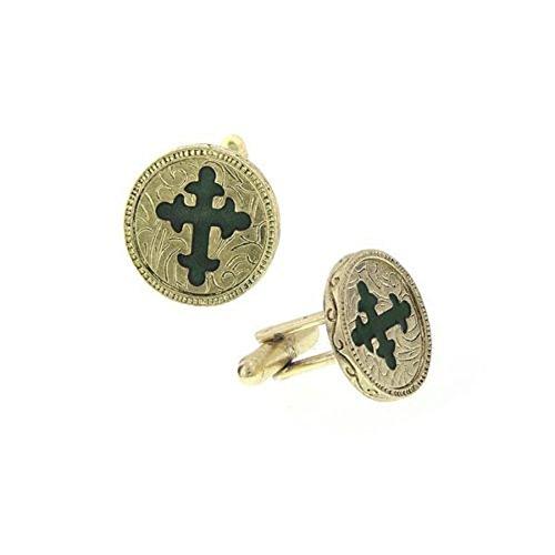 Enamel Cross Cufflinks - The Vatican Library Gold Tone Green Enamel Cross Cufflinks