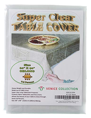 R&L Super Clear and Durable 100% Vinyl Tablecloth Protector 60