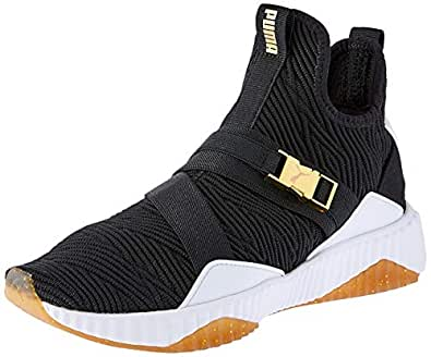 PUMA Women's Defy Mid Varsity WN's Blk-met Shoes, Puma Black-Metallic Gold, 5.5 US