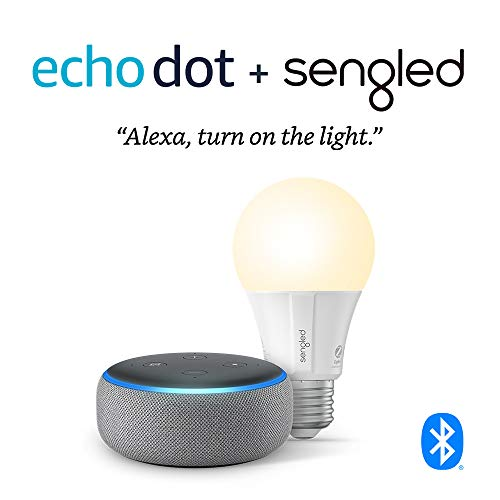 Echo Dot (3rd Gen) - Smart speaker with Alexa - Heather Gray Sengled Bluetooth bulb (Certified for Humans product)