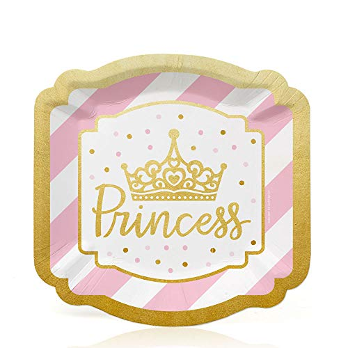 Big Dot of Happiness Little Princess Crown with Gold Foil - Pink and Gold Princess Baby Shower or Birthday Party Dessert Plates (16 Count) ()