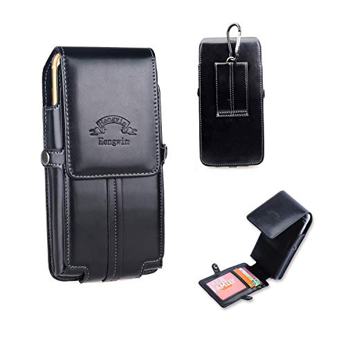 Hengwin Belt Clip Cell Phone Holster iPhone XR Belt Loop Pouch Case iPhone 8 7 6S Plus Belt Holster Case Leather Magnetic Closure Waist Bag Men Purse with Credit Card Slot + Keychain (Black)