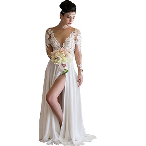 Chady Romantic Summer Beach Wedding Dress 2017 Sexy High Slit Chiffon Bride Dresses Long Sleeve Cheap Weddig Gowns by Chady