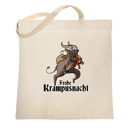 Frohe Krampusnacht Krampus Christmas Funny Natural 15x15 inches Canvas Tote -