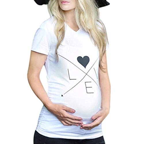 - Women Maternity T-Shirt,Short Sleeve Love Letter Print O-Neck S-3XL,Pregnancy Basic Fashion Style on Summer