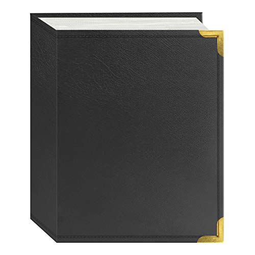 Pioneer Photo Albums 100 Pocket Gray Sewn Leatherette Cover with Brass Corner Accents Photo Album for Prints, 4 by 6-Inch