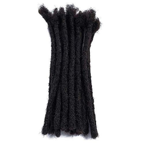 100% Human Hair Dreadlock Extensions,Dsoar Handmade Crochet Loc Extensions Medium Size (Width 0.8 cm,8 inch,Natural Black Color)