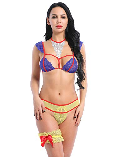 Women Sexy Lace Costumes Poisoned Apple Fantasy Princess Roleplay Sheer 3Pcs Cage Bra Panties Lingerie Set(Blue 3XL)]()