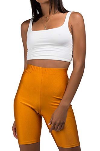 AKIRA Women's Shiny Spandex High Waist Kim K Bodycon Biker Bike Shorts -