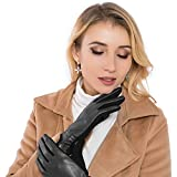 Women Leather Gloves Winter Touchscreen Warm Plain Gloves- Touch screen Texting for Phone (black)