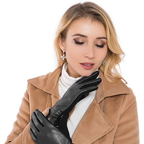 Women Leather Gloves Winter Touchscreen Warm Plain Gloves- Touch screen Texting for Phone (black) (Best Winter Dress Gloves)