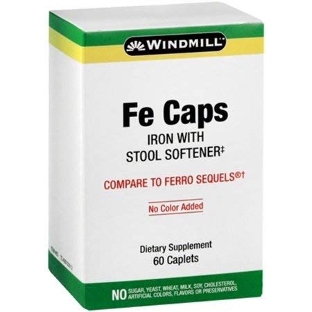 Windmill FE Caps, Iron With Stool Softener 60 Caplets (3 Pack)