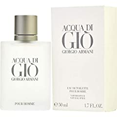 Acqua Di Gio Men by Armani 1.7 oz EDT Spray. This aquatic, hyacinth fragrance opens with a splash of fresh, calabrian bergamot, neroli and green tangerine. Light, aquatic nuances mix with jasmine fragrance, crisp rock rose, rosemary, fruity p...