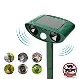 Ultrasonic Animal Repeller, Solar repellent with Motion Sensor Ultrasonic and Red Flashing lights Outdoor Waterproof Farm Garden Yard repellent, Cats, Dogs, Foxes, Birds, Skunks, Rodent, Deer, Raccoon
