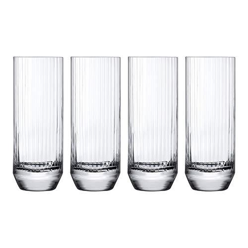 NUDE Glass Big Top Set of 4 High Ball Glasses 10oz Lead-Free Crystal (Set of 4)