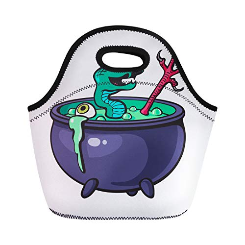 Semtomn Neoprene Lunch Tote Bag Halloween Witches Cauldron Green Potion Serpent Eye Bird Leg Reusable Cooler Bags Insulated Thermal Picnic Handbag for Travel,School,Outdoors,Work