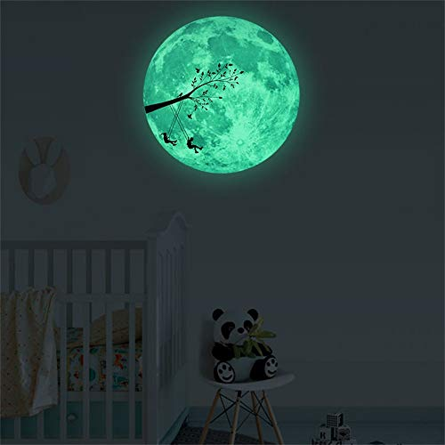 3D Large Moon Fluorescent Wall Sticker Removable Glow