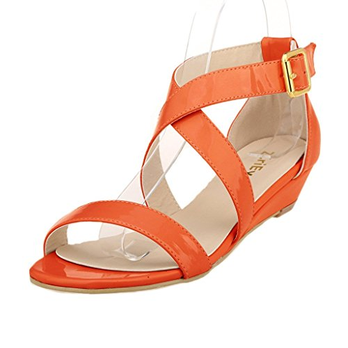 ZriEy Women's Classic Ultra Comfort Sexy Low Heel Sandals Patent Leather Orange (Orange Patent Sandals)