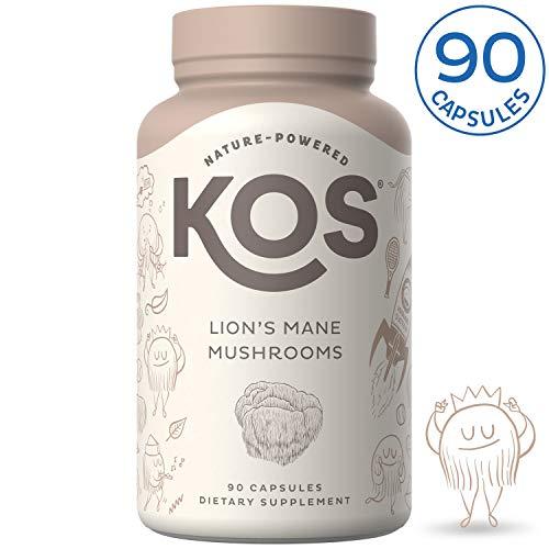 KOS Organic Lion's Mane Mushroom Capsules - Boosts Immunity, Enhances Focus and Clarity - 90 Vegetarian Hericium Erinaceus Capsules, No Added Fillers or Preservatives