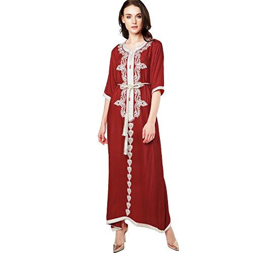 Baya Robe Musulmane Dubai Caftan Pour Les Femmes La Moitié Manches Robe Longue Arabe Abaya Filles Vêtements Islamic Caftan Rouge Jalabiya