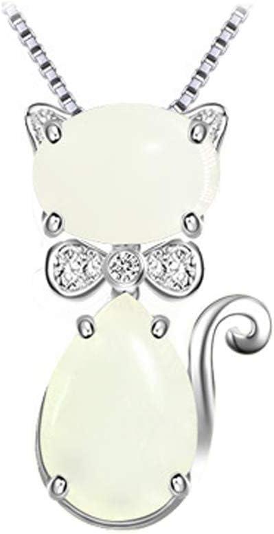 ZQYY Collar Colgante, Collares Mujer Plata de Ley 925 Cadena, Colgante Jade Gato Feliz Clavícula Cadena, Encantador Regalo de la Joyería