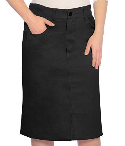 (Kosher Casual Big Girl's Modest Knee Length Lightweight Cotton Stretch Twill Pencil Skirt Size 12 Black)