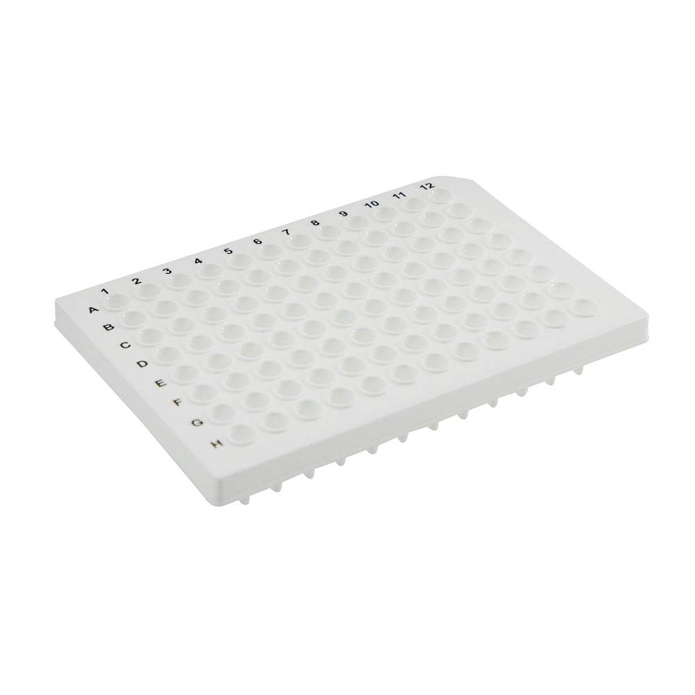 96-Well Semi-Skirted PCR Plate, White, Natural, Straight-Sided, 10 Plates/Unit by Olympus Plastics