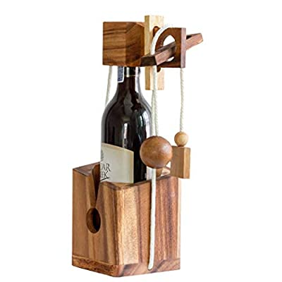 Wine Gift Adult and Game Gifts Comes with Bottle Lock Challenges Wood Brain Teaser Puzzles and Designs of Classic Unique Wooden to be a Puzzle Game Gift to Wine Lovers and Couples Drinkers on Party