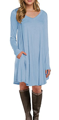 LILBETTER Women's Long Sleeve Pocket Casual Loose T-Shirt Dress (Light Blue M) -