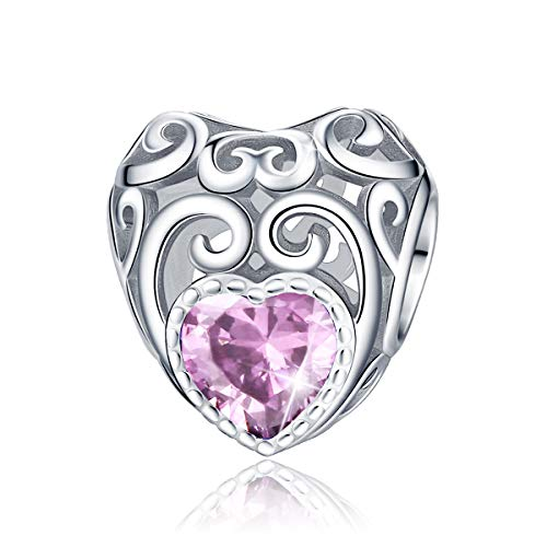 FOREVER QUEEN October Birthstone Charms- Leaves Wave Heart Bead Charms- 925 Sterling Silver Openwork Charm fit Pandora Charms Bracelet Necklace for Women, Daughter, Wife, Girlfriend, Mother