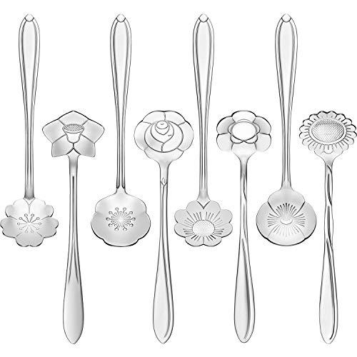Chengu 8 Pieces Stainless Steel Tableware Creative Flower Coffee Spoon Sugar Spoon Tea Spoon Stir Bar Spoon Stirring Spoon, 8 Different Patterns (Silver)