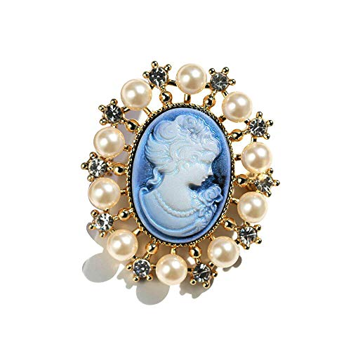 Shell Cameo Pin Brooch - Ajojewel Vintage Lady Maiden Pink Cameo Brooch Pin Charm for Women Rhinestone & Simulated Pearl Brooches for Party Wedding New Year Gift (Style 4)