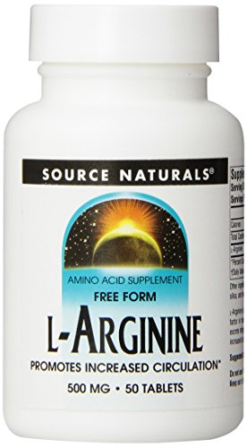 Source Naturals L-Arginine Free-Form 500mg, Promotes Increased Circulation, 50 Tablets, Pack of 2