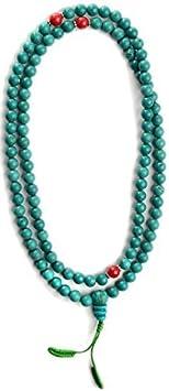 BUDDHAFIGUREN Mala - Pulsera budista con perlas de jaspe turquesa y rojo - 8 mm de ancho con conjunto de dorje y bolsa