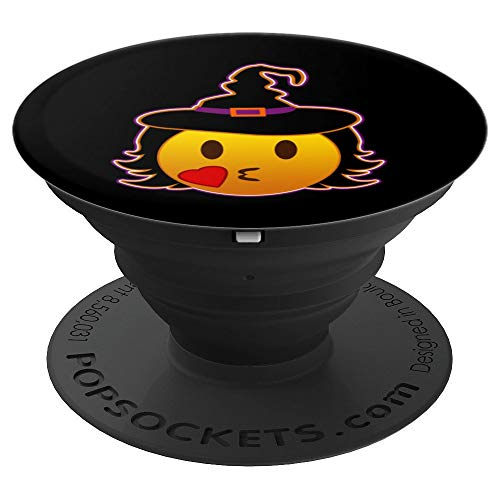 Funny Halloween Emojis Witch with Glasses Kissing Nerd Face - PopSockets Grip and Stand for Phones and Tablets