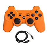 Bowink Wireless Bluetooth Controller For PS3 Double Shock - Bundled with USB charge cord (Orange)