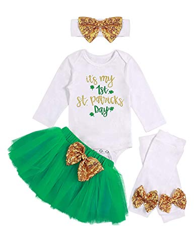 (SWNONE Newborn Baby Girl St.Patrick's Day Skirt Outfit Clothes Romper+ Tutu Bowknot Skirt and Headband 4Pcs (it's My 1st St.Patrick's Day Skirt Outfit, 3-6)