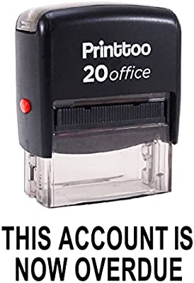 Printtoo Rubber Stamp OVERDUE Self Inking Office Stationary Custom Stamp-Black