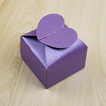 Interestmaker - 100 cajas de papel perlado en forma de corazón para bodas, dulces,