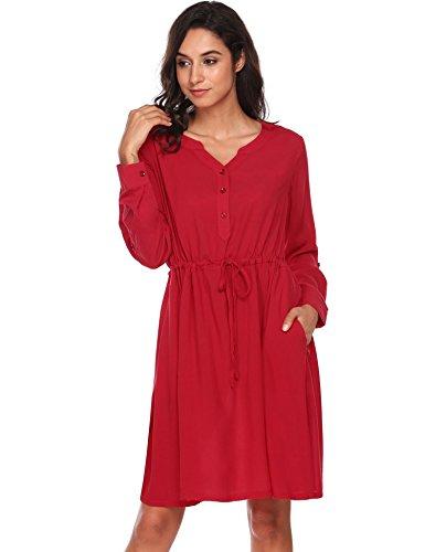 Drawstring Shirt Dress (Unibelle Women Roll Up Sleeve V Neck Button Drawstring Pocket Casual T Shirt Dress, Dark Red, XX-Large)
