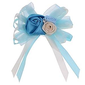 Jili Online Romantic Bridal Corsage Wedding Prom Party Buttonholes Silk Flowers - Sky Blue, as described 49