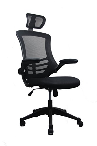 Arm Chair Box Cushion - Modern High-Back Mesh Executive Chair With Headrest And Flip Up Arms. Color: Black