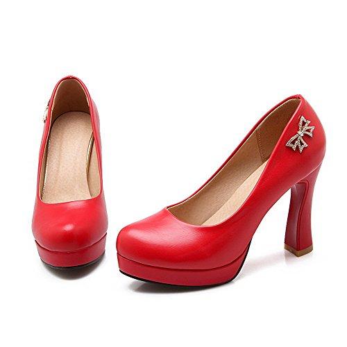 Suljetun Amoonyfashion Pull Ympäri Materiaali Toe Kiinteä Naisten pumppuihin Punainen kengät Korkokenkiä Pehmeä rrqUnER6Tw