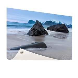 Playa de arena–Foto en jardín Póster–200x 100cm (formatos disponibles: 60x 40, 120x 80, 200x 100) Top de calidad Jardín Banner.