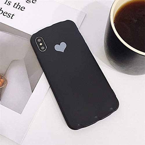 (MIIA Fitted Cases - Candy Color Case for iPhone Xr Xs X Xs Max Love Heart Phone Cover for iPhone 6 6s 7 8 Plus Soft TPU Silicone Cases Coque - for iPhone 7_AC4872 Black - Holder Pendant Heat V)