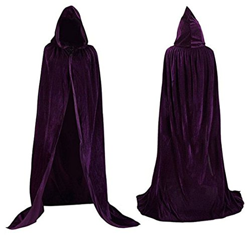 Flywife Womens Velvet Hooded Cloak Halloween Costumes Hooded Party Cape Medieval Cosplay Cape (Dark Purple A) -